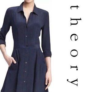 Theory Meili Purple Button Up Linen Shirt Dress